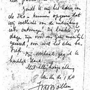 Briefje van parochiaan (archief Theo Egberts)