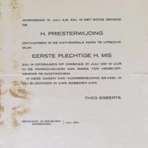 Uitnodiging inwijding (archief Theo Egberts)